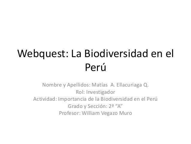 Webquest: La Biodiversidad en el Perú Nombre y Apellidos: Matías A. Ellacuriaga Q. Rol: Investigador Actividad: Importanci...