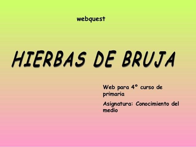 webquest Web para 4º curso de primaria Asignatura: Conocimiento del medio