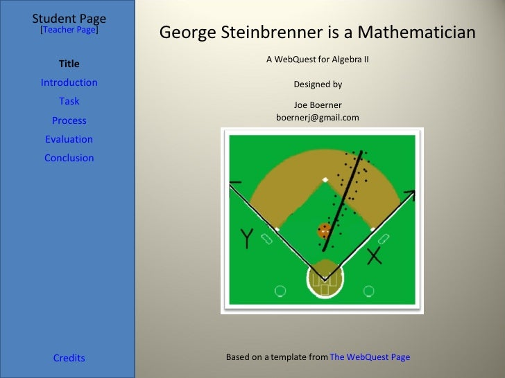 George Steinbrenner is a Mathematician Student Page Title Introduction Task Process Evaluation Conclusion Credits [ Teache...