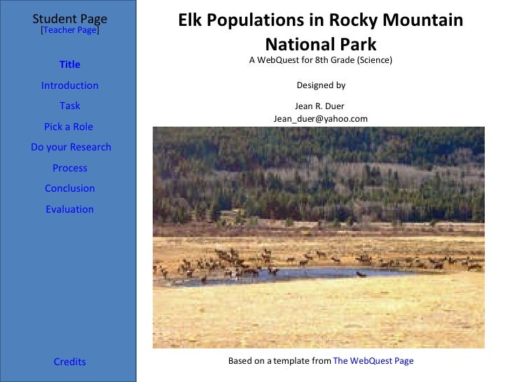 Elk Populations in Rocky Mountain National Park Student Page Title Introduction Task Process Evaluation Conclusion Credits...