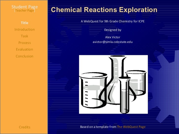 Chemical Reactions Exploration Student Page Title Introduction Task Process Evaluation Conclusion Credits [ Teacher Page ]...