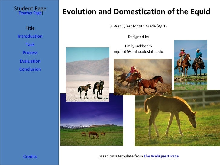 Evolution and Domestication of the Equid Student Page Title Introduction Task Process Evaluation Conclusion Credits [ Teac...