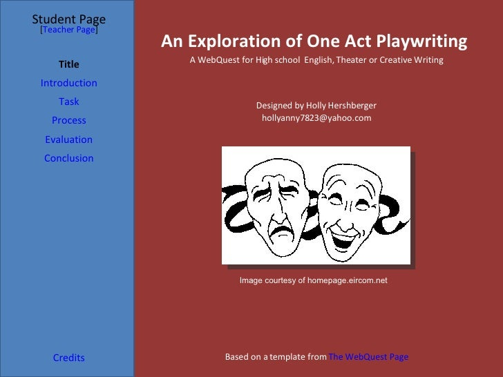 An Exploration of One Act Playwriting Student Page Title Introduction Task Process Evaluation Conclusion Credits [ Teacher...
