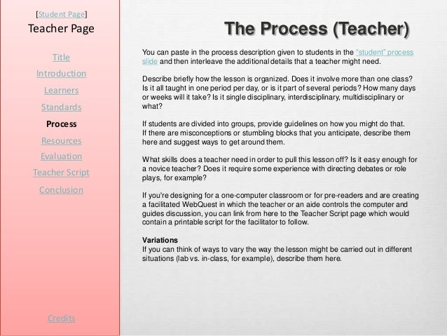 [Student Page]Teacher Page                                The Process (Teacher)                  You can paste in the proc...
