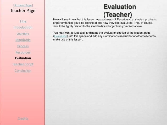 [Student Page]Teacher Page                                                           Evaluation                           ...