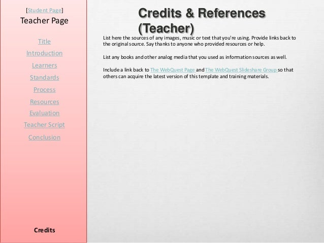 [Student Page]Teacher Page                                  Credits & References                                  (Teacher...