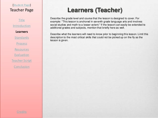 [Student Page]Teacher Page                     Learners (Teacher)                  Describe the grade level and course tha...
