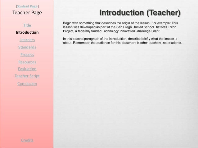 [Student Page]Teacher Page                              Introduction (Teacher)                  Begin with something that ...