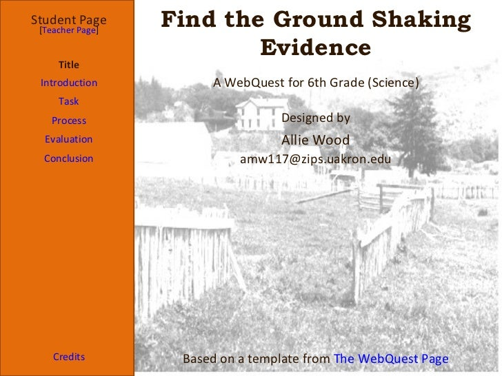 Find the Ground Shaking Evidence Student Page Title Introduction Task Process Evaluation Conclusion Credits [ Teacher Page...