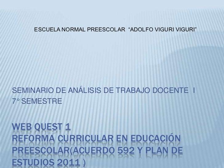 """ESCUELA NORMAL PREESCOLAR """"ADOLFO VIGURI VIGURI""""SEMINARIO DE ANÁLISIS DE TRABAJO DOCENTE I7° SEMESTREWEB QUEST 1REFORMA CU..."""