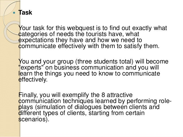 Business communication in tourism - webquest Slide 3