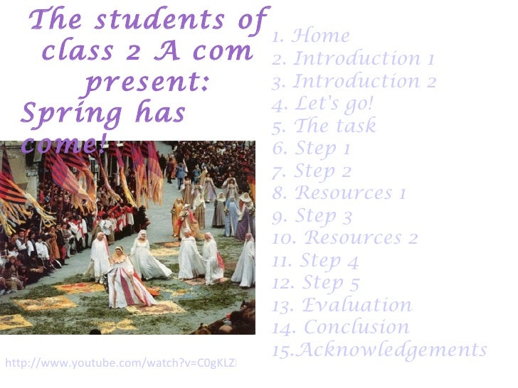 The students of                  1. Home   class 2 A com 2. Introduction 1      present:    3. Introduction 2             ...