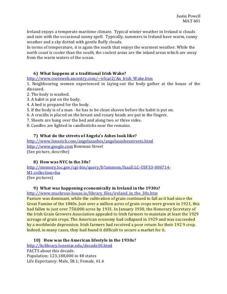 Webquest Angelas Ashes plus Answers