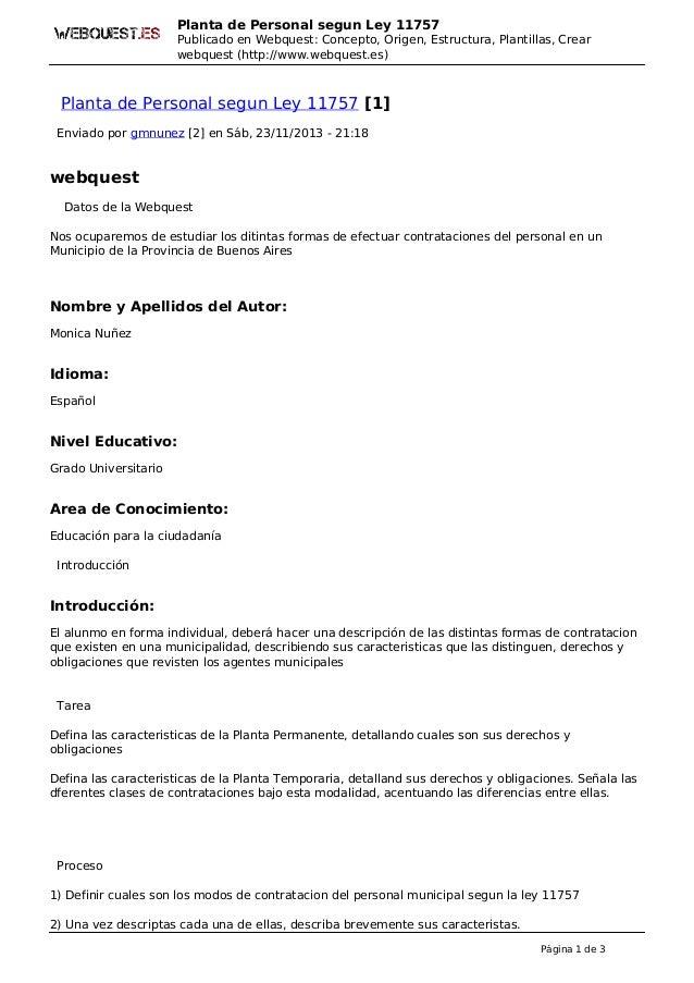 Planta de Personal segun Ley 11757 Publicado en Webquest: Concepto, Origen, Estructura, Plantillas, Crear webquest (http:/...