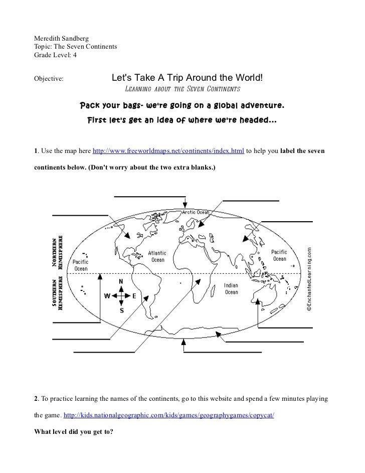 Webquest continents