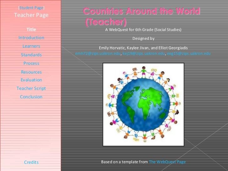 Countries Around The World Webquest