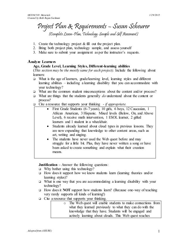 MCOM 510 Materials 1/29/2015 Created by Beth Rajan Sockman Adapted from ASSURE) 1 Project Plan & Requirements – Susan Sche...
