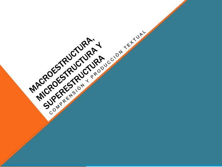 MACROESTRUCTURA, MICROESTRUCTURA Y sUPERESTRUCTURA<br />Comprensiòn y producciòn textual<br />