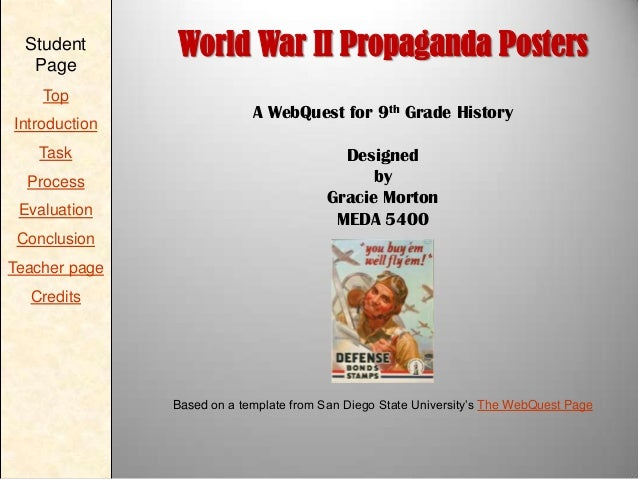 Student Page Top Introduction Task Process Evaluation  World War II Propaganda Posters A WebQuest for 9th Grade History De...