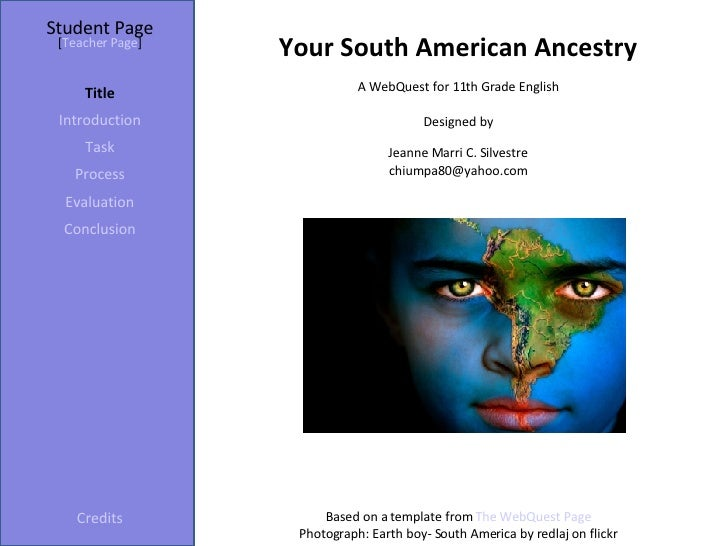 Student Page Title Introduction Task Process Evaluation Conclusion Credits [ Teacher Page ] A WebQuest for 11th Grade Engl...