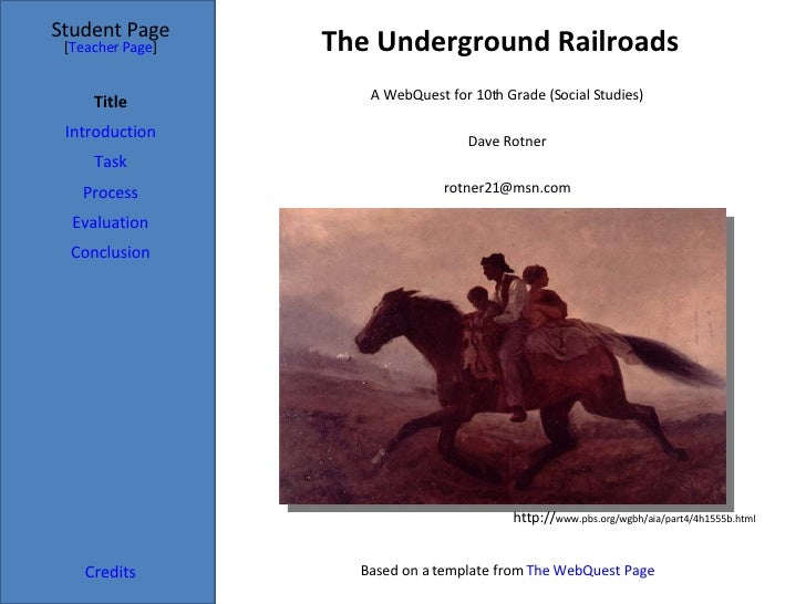 The Underground Railroads Student Page Title Introduction Task Process Evaluation Conclusion Credits [ Teacher Page ] A We...