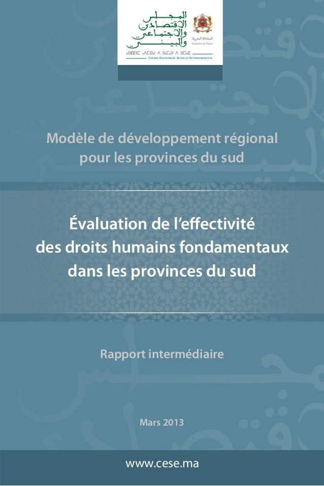 Conseil Economique, Social et Environnemental  Modèle de développement régional pour les provinces du sud  Évaluation de l...
