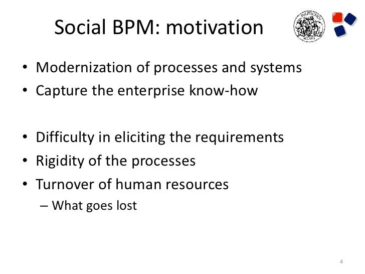 Social BPM: motivation• Modernization of processes and systems• Capture the enterprise know-how• Difficulty in eliciting t...