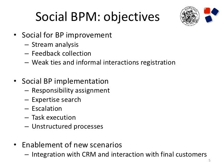 Social BPM: objectives• Social for BP improvement   – Stream analysis   – Feedback collection   – Weak ties and informal i...