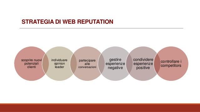 STRATEGIA DI WEB REPUTATION scoprire nuovi potenziali clienti individuare opinion leader partecipare alle conversazioni ge...