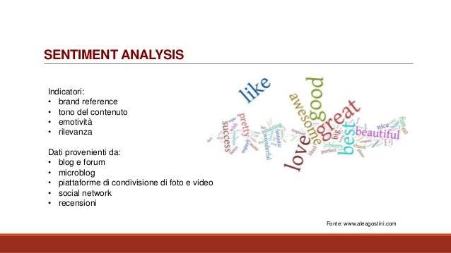 SENTIMENT ANALYSIS Indicatori: • brand reference • tono del contenuto • emotività • rilevanza Dati provenienti da: • blog ...