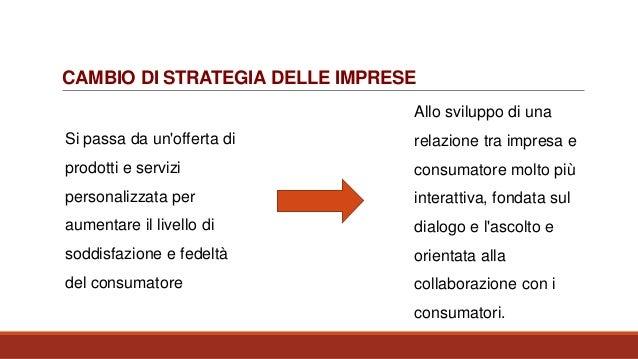 CAMBIO DI STRATEGIA DELLE IMPRESE Si passa da un'offerta di prodotti e servizi personalizzata per aumentare il livello di ...