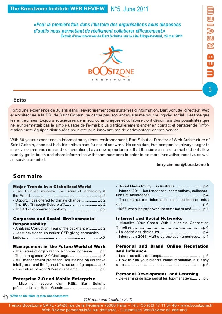 The Boostzone Institute WEB REVIEW                                                     N°5. June 2011                    «...
