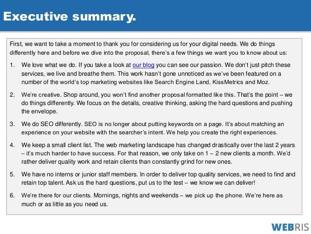 Executive Summary.  Executive Summary Proposal Template