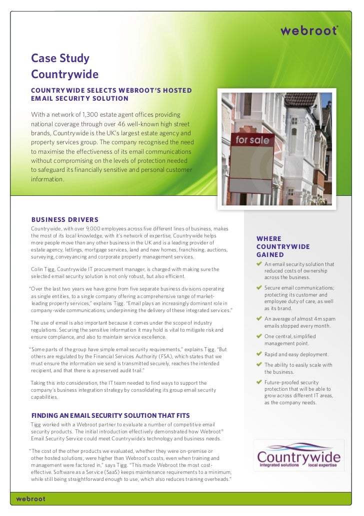 Case StudyCountrywideCountry wide SeleCtS webroot'S HoStedemail SeCurity SolutionWith a network of 1,300 estate agent offi...