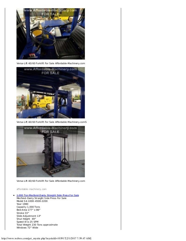300 Ton Danly & USI Clearing Press, 800 Ton Lift Systems