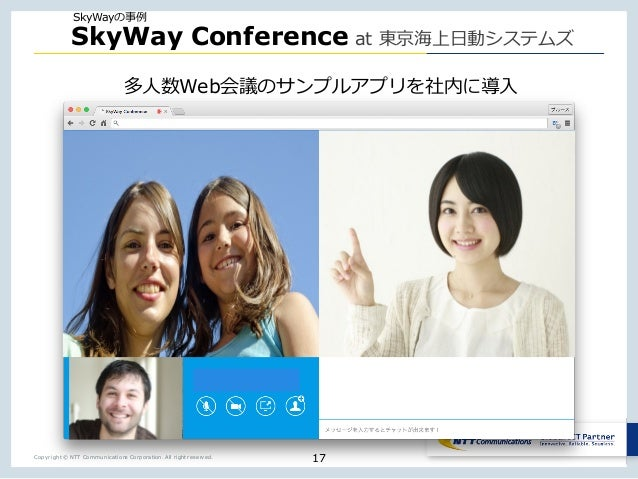 Copyright © NTT Communications Corporation. All right reserved. SkyWay Conference at Web 17 SkyWay