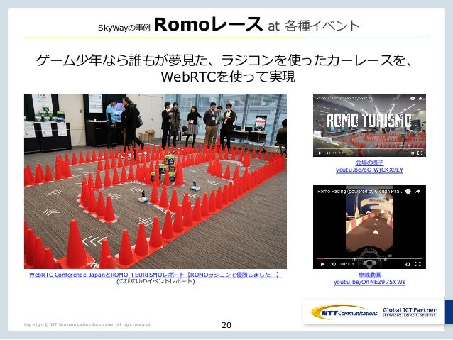 Copyright © NTT Communications Corporation. All right reserved. SkyWay Romo at _ o X _ _ X WebRTC 20 WebRTC Conference Jap...