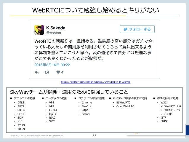 Copyright © NTT Communications Corporation. All right reserved. SkyWay _ o w j t WebRTC j w o j n • DTLS • SRTP • SRTCP • ...