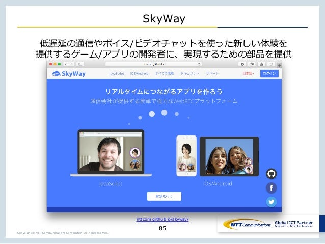 Copyright © NTT Communications Corporation. All right reserved. SkyWay 85 / wj y _ / X y nttcom.github.io/skyway/