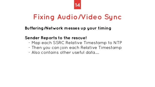 14 Fixing Audio/Video Sync Buffering/Network messes up your timing   Sender Reports to the rescue!   - Map each SSRC Relat...