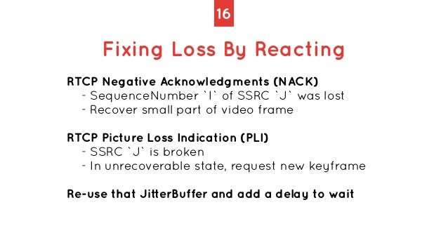 16 Fixing Loss By Reacting RTCP Negative Acknowledgments (NACK)   - SequenceNumber `I` of SSRC `J` was lost   - Recover sm...