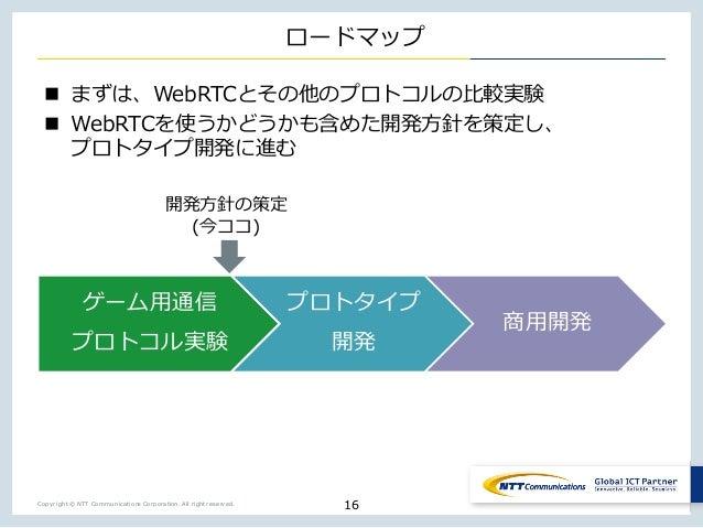 Copyright © NTT Communications Corporation. All right reserved. ロードマップ n まずは、WebRTCとその他のプロトコルの⽐較実験 n WebRTCを使うかどうかも含めた開発⽅針...