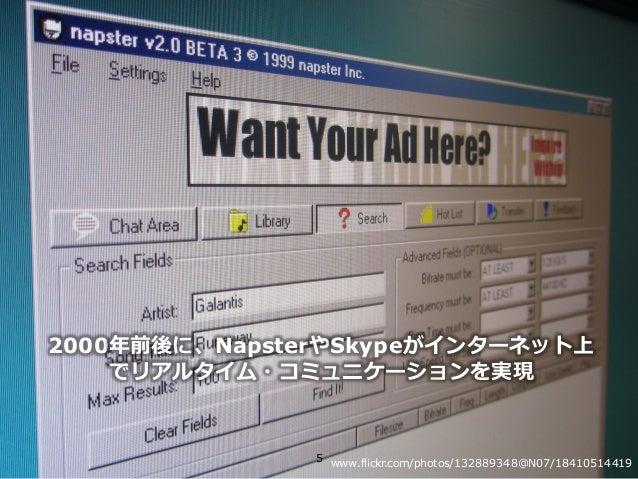 Copyright © NTT Communications Corporation. All right reserved. 2000年前後に、NapsterやSkypeがインターネット上 でリアルタイム・コミュニケーションを実現 5 www...
