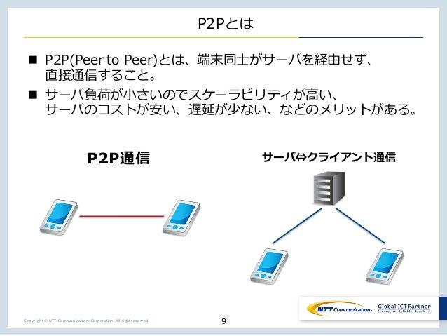 Copyright © NTT Communications Corporation. All right reserved. P2Pとは n P2P(Peer to Peer)とは、端末同⼠がサーバを経由せず、 直接通信すること。 n サーバ...