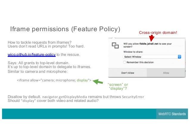 WebRTC Standards & Implementation Q&A - getDisplayMedia 1 0