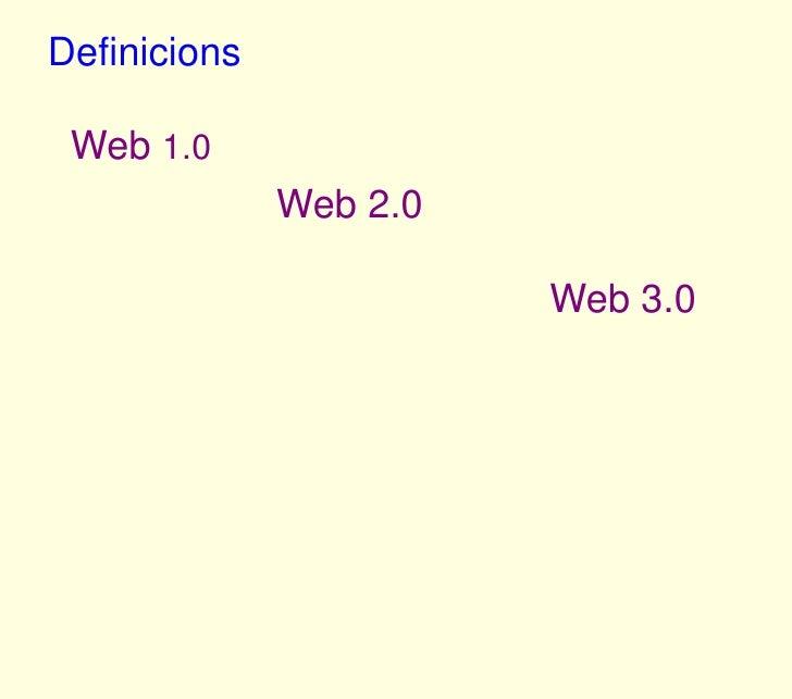 Definicions<br />Web 1.0<br />Web 2.0<br />Web 3.0<br />