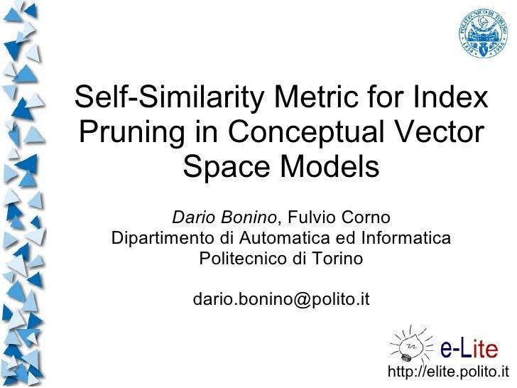 Self-Similarity Metric for Index Pruning in Conceptual Vector         Space Models           Dario Bonino, Fulvio Corno   ...