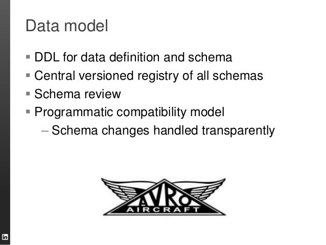 Data model  DDL for data definition and schema  Central versioned registry of all schemas  Schema review  Programmatic...