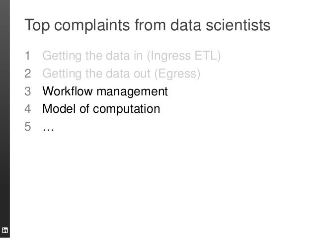 Top complaints from data scientists 1 Getting the data in (Ingress ETL) 2 Getting the data out (Egress) 3 Workflow managem...