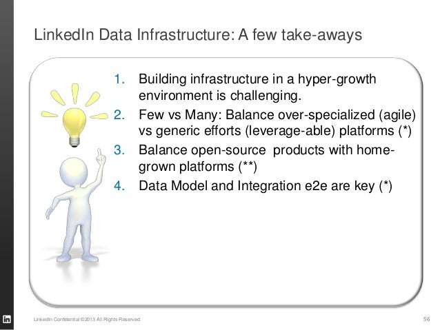 LinkedIn Data Infrastructure: A few take-aways LinkedIn Confidential ©2013 All Rights Reserved 56 1. Building infrastructu...